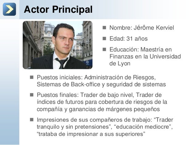 Actor Principal Puestos iniciales: Administración de Riesgos,Sistemas de Back-office y seguridad de sistemas Puestos fin...