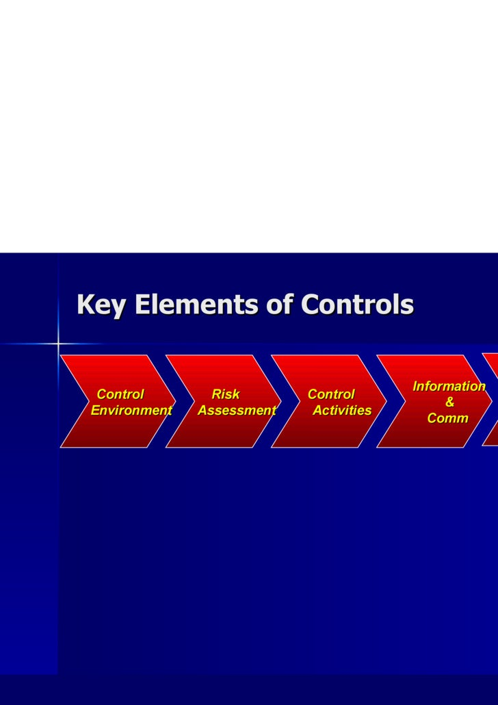 Key Elements of Controls Control    Environment Risk    Assessment Control    Activities Information &  Comm Monitoring