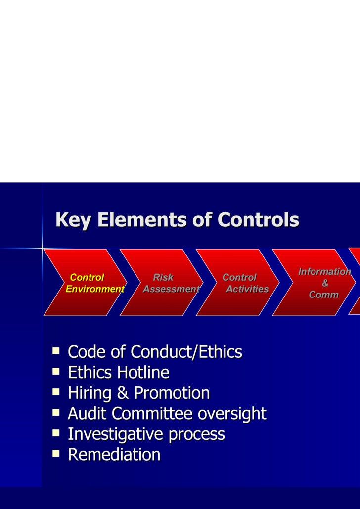 Key Elements of Controls <ul><li>Code of Conduct/Ethics </li></ul><ul><li>Ethics Hotline </li></ul><ul><li>Hiring & Promot...