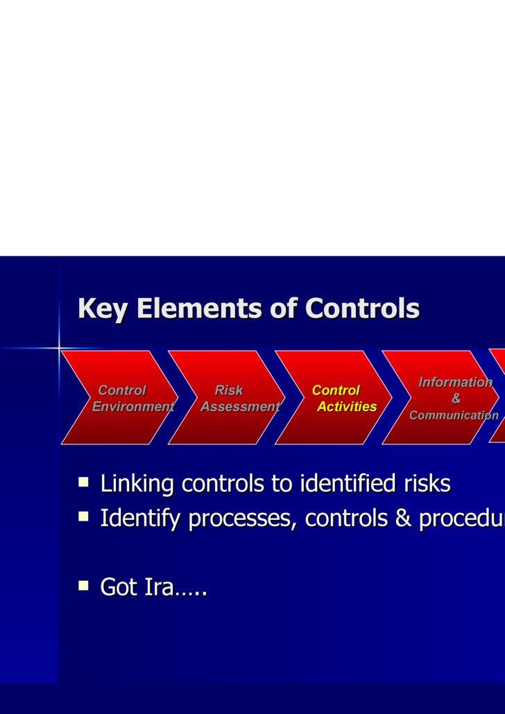Key Elements of Controls <ul><li>Linking controls to identified risks </li></ul><ul><li>Identify processes, controls & pro...