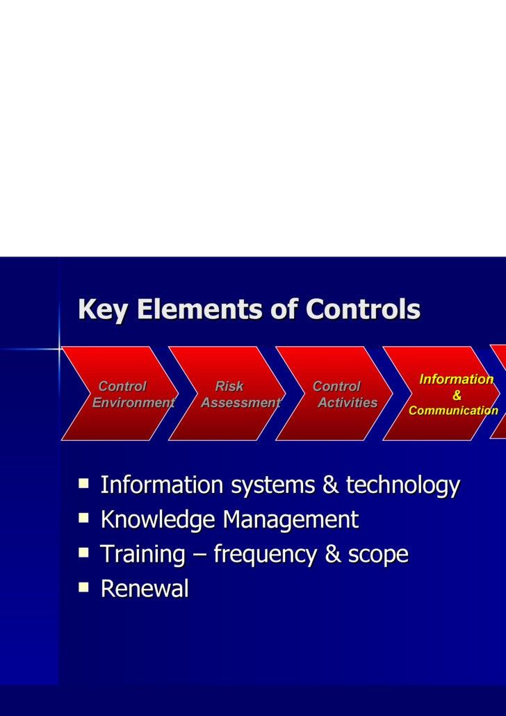 Key Elements of Controls <ul><li>Information systems & technology </li></ul><ul><li>Knowledge Management </li></ul><ul><li...