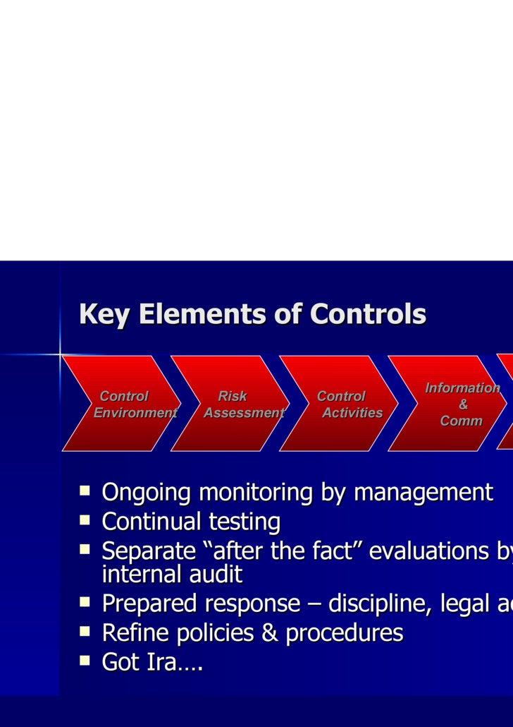 Key Elements of Controls <ul><li>Ongoing monitoring by management </li></ul><ul><li>Continual testing </li></ul><ul><li>Se...