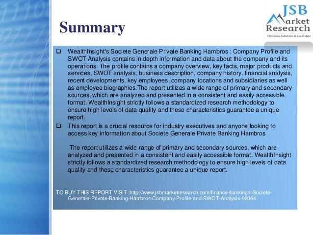 Company description and swot analysis