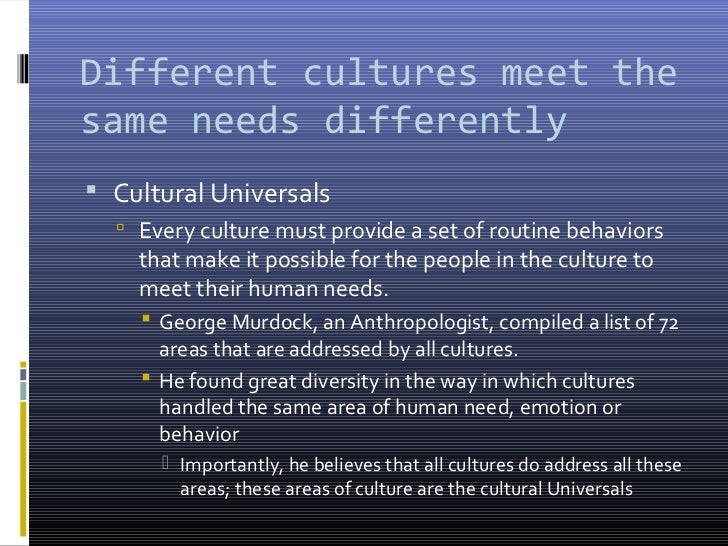 an analysis of cultural universals by the anthropologist george murdock Cultural universals ( which has been mentioned by anthropologists like george murdock, claude levi-strauss, donald brown and others) can be defined as being anything common that exists in every human culture on the planet yet varies from different culture to culture, such as values and modes of behavior.