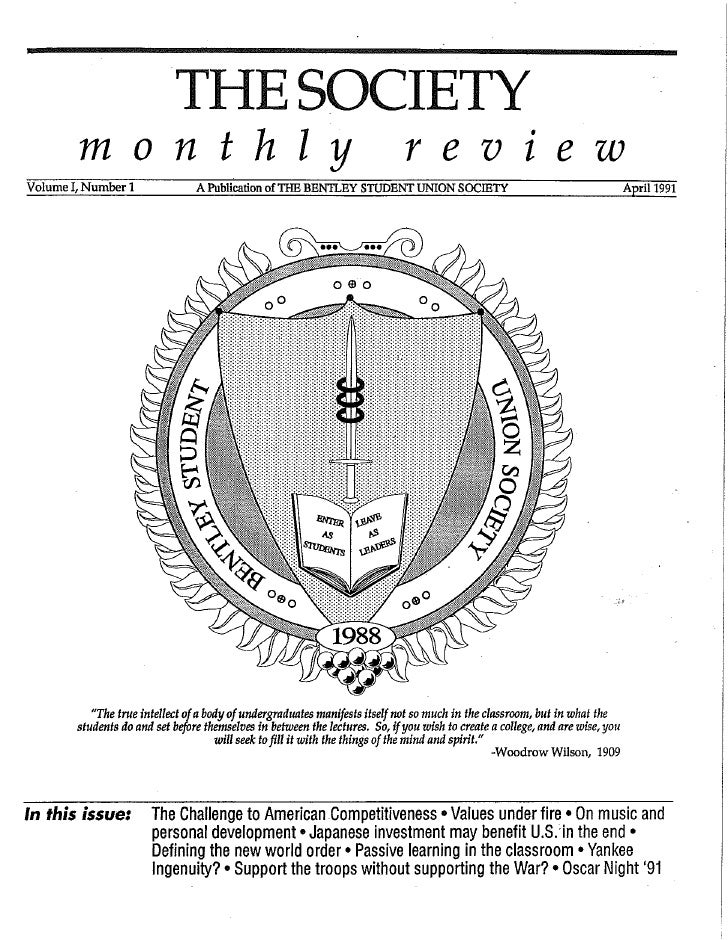Bentley (College) University Society Monthly Review