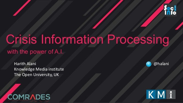Crisis Information Processing with the power of A.I. Harith Alani Knowledge Media institute The Open University, UK @halani