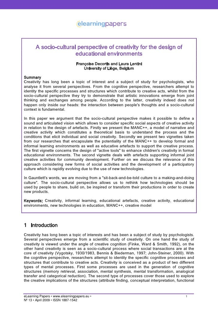 A socio-cultural perspective of creativity for the design of                        educational environments              ...