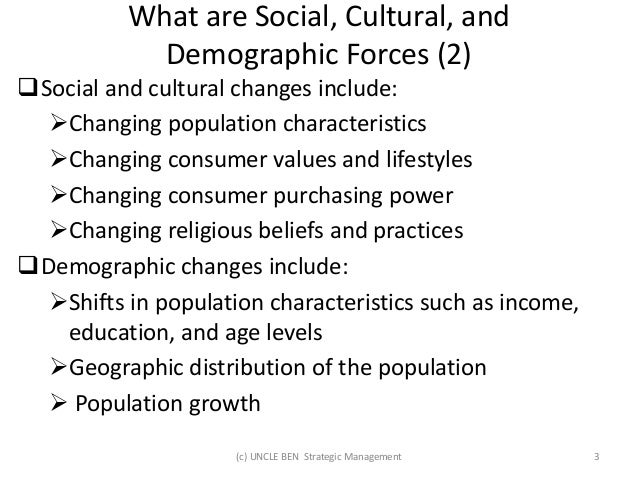 social cultural demographic and environmental forces Marketing macro environment:demographic environment, cultural environment principles of cultural factors marketing and society:social criticisms.
