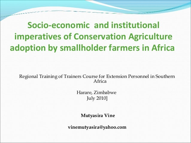 Socio-economic and institutional imperatives of Conservation Agriculture adoption by smallholder farmers in Africa Regiona...