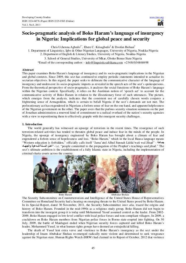 Developing Country Studies www.iiste.org ISSN 2224-607X (Paper) ISSN 2225-0565 (Online) Vol.3, No.8, 2013 45 Socio-pragmat...