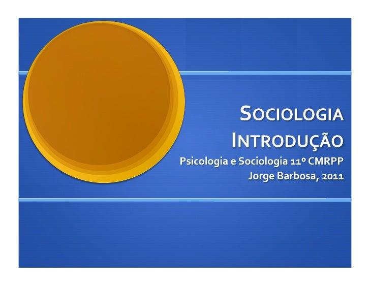 Introdução à Sociologia 1