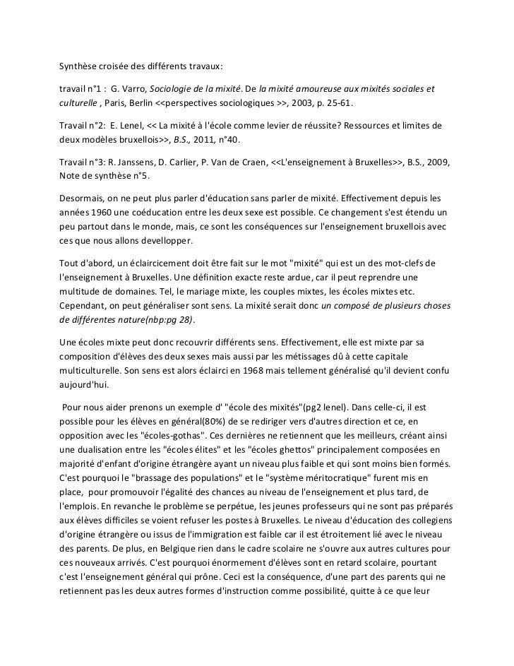 Synthèse croisée des différents travaux:travail n°1 : G. Varro, Sociologie de la mixité. De la mixité amoureuse aux mixité...