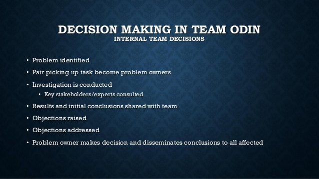 DECISION MAKING IN TEAM ODIN INTERNAL TEAM DECISIONS • Problem identified • Pair picking up task become problem owners • I...