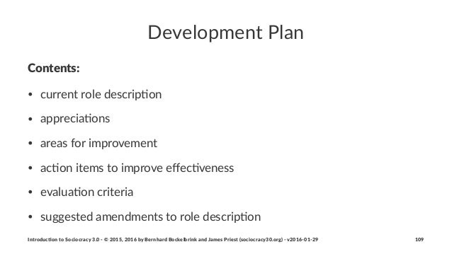 Development*Plan Contents: • current(role(descrip/on • apprecia/ons • areas(for(improvement • ac/on(items(to(improve(effec/...
