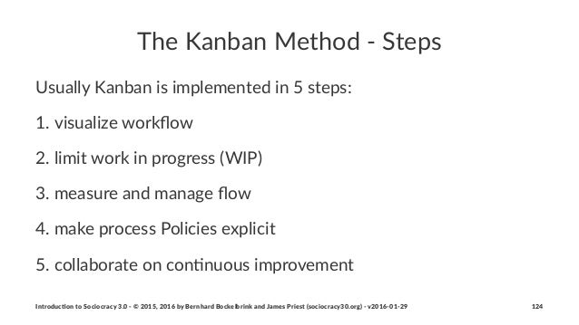 The$Kanban$Method$-$Steps Usually'Kanban'is'implemented'in'5'steps: 1. visualize+workflow 2. limit+work+in+progress+(WIP) 3...