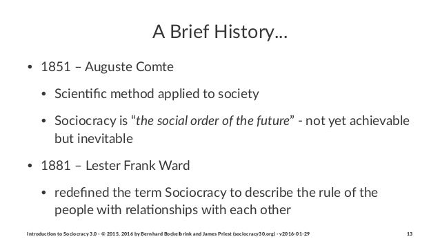 """A""""Brief""""History... • 1851%–%Auguste%Comte • Scien4fic%method%applied%to%society • Sociocracy%is%""""the$social$order$of$the$fu..."""