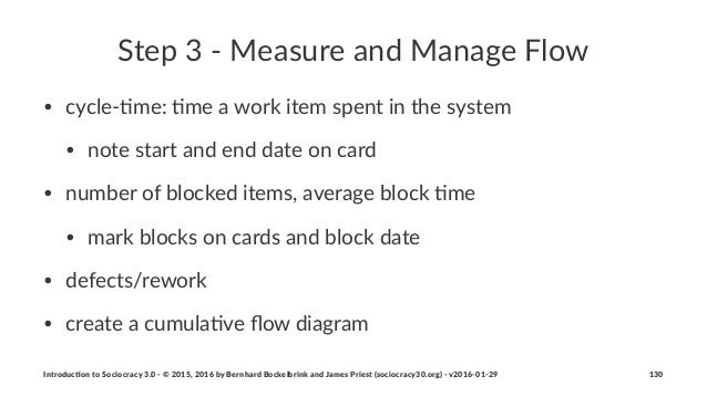 Step%3%'%Measure%and%Manage%Flow • cycle&'me:*'me*a*work*item*spent*in*the*system • note*start*and*end*date*on*card • numb...