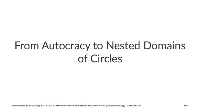 From%Autocracy%to%Nested%Domains% of%Circles Introduc)on*to*Sociocracy*3.0*2*©*2015,*2016*by*Bernhard*Bockelbrink*and*Jame...