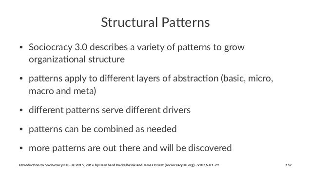 Structural(Pa*erns • Sociocracy)3.0)describes)a)variety)of)pa5erns)to)grow) organiza:onal)structure • pa5erns)apply)to)diff...