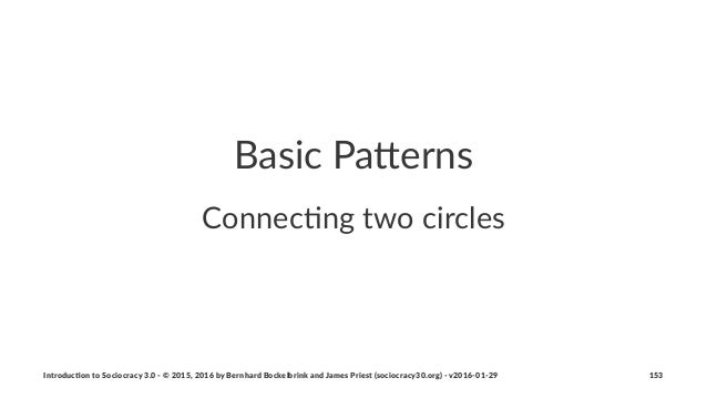 Basic&Pa(erns Connec&ng(two(circles Introduc)on*to*Sociocracy*3.0*2*©*2015,*2016*by*Bernhard*Bockelbrink*and*James*Priest*...