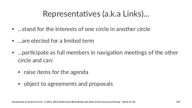 Representa)ves+(a.k.a+Links)... • ...stand(for(the(interests(of(one(circle(in(another(circle • ...are(elected(for(a(limite...