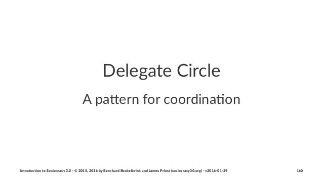 """Delegate'Circle A""""pa%ern""""for""""coordina.on Introduc)on*to*Sociocracy*3.0*2*©*2015,*2016*by*Bernhard*Bockelbrink*and*James*Pr..."""