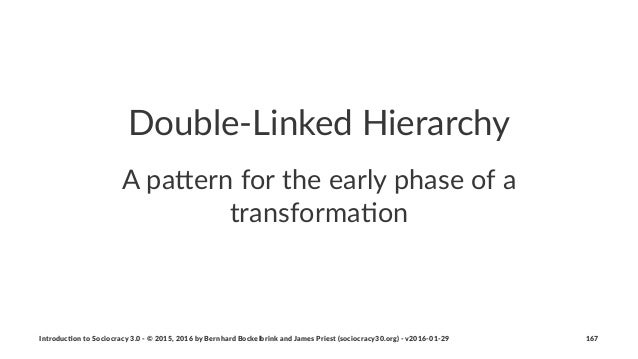 """Double'Linked-Hierarchy A""""pa%ern""""for""""the""""early""""phase""""of""""a"""" transforma1on Introduc)on*to*Sociocracy*3.0*2*©*2015,*2016*by*B..."""