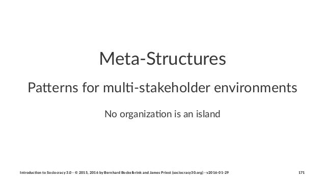 Meta%Structures Pa#erns(for(mul./stakeholder(environments No#organiza*on#is#an#island Introduc)on*to*Sociocracy*3.0*2*©*20...