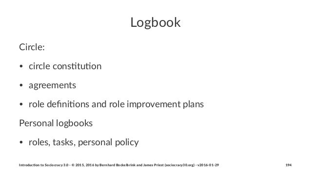 Logbook Circle:( • circle'cons+tu+on • agreements • role'defini+ons'and'role'improvement'plans Personal)logbooks • roles,(t...