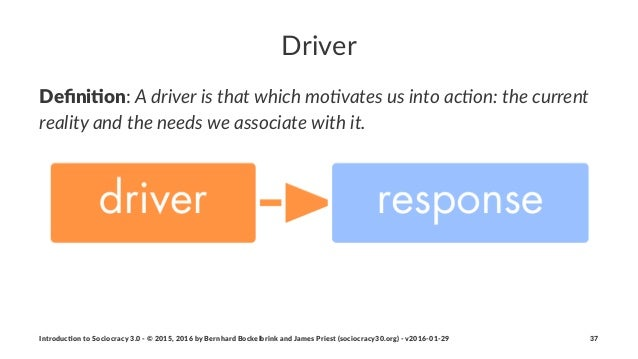 """Driver Defini&on:""""A""""driver""""is""""that""""which""""mo0vates""""us""""into""""ac0on:""""the""""current"""" reality""""and""""the""""needs""""we""""associate""""with""""it. I..."""