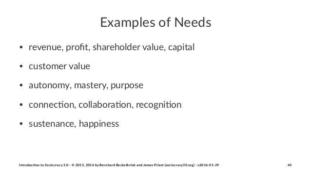 Examples)of)Needs • revenue,(profit,(shareholder(value,(capital • customer(value • autonomy,(mastery,(purpose • connec6on,(...