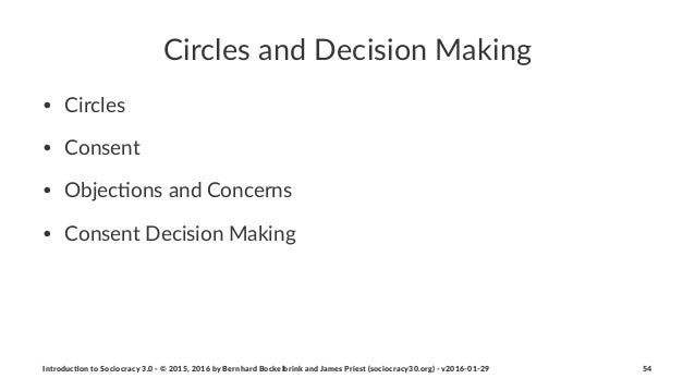 Circles(and(Decision(Making • Circles • Consent • Objec/ons0and0Concerns • Consent0Decision0Making Introduc)on*to*Sociocra...