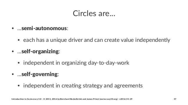 Circles(are... • ...semi%autonomous:$ • each$has$a$unique$driver$and$can$create$value$independently • ...self%organizing: ...