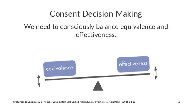 Consent'Decision'Making We#need#to#consciously#balance#equivalence#and# effec3veness. Introduc)on*to*Sociocracy*3.0*2*©*201...