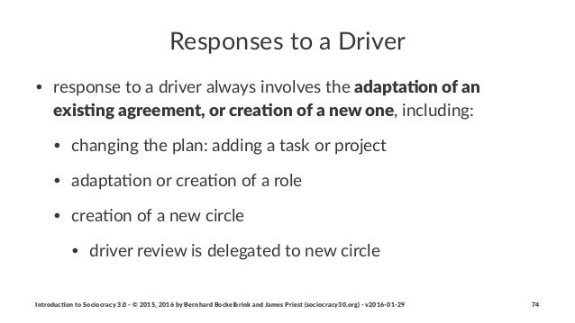 Responses'to'a'Driver • response(to(a(driver(always(involves(the(adapta%on(of(an( exis%ng(agreement,(or(crea%on(of(a(new(o...