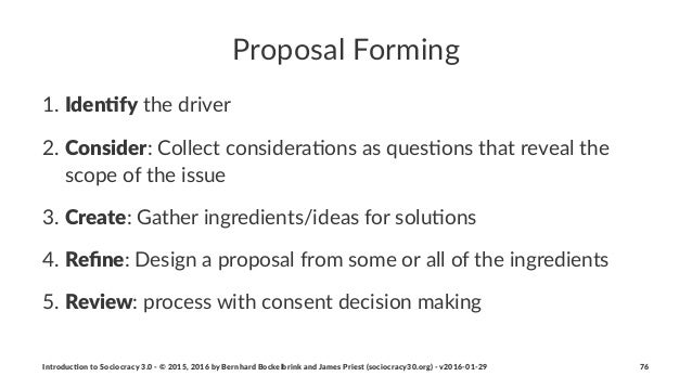Proposal(Forming 1. Iden%fy#the#driver# 2. Consider:#Collect#considera4ons#as#ques4ons#that#reveal#the# scope#of#the#issue...