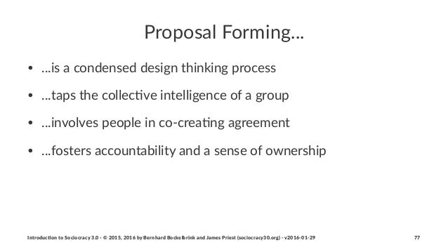Proposal(Forming... • ...is%a%condensed%design%thinking%process • ...taps%the%collec3ve%intelligence%of%a%group • ...invol...