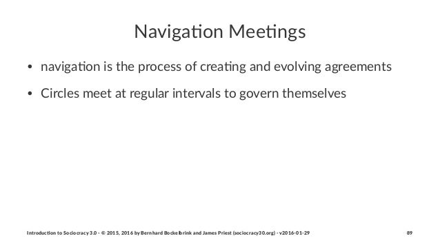 Naviga&on)Mee&ngs • naviga'on)is)the)process)of)crea'ng)and)evolving)agreements • Circles)meet)at)regular)intervals)to)gov...