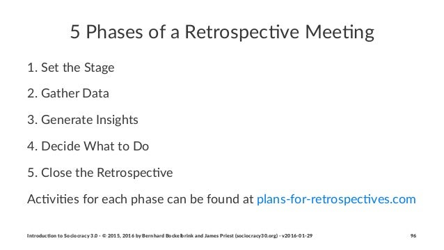"""5""""Phases""""of""""a""""Retrospec/ve""""Mee/ng 1. Set&the&Stage& 2. Gather&Data 3. Generate&Insights 4. Decide&What&to&Do 5. Close&the&..."""