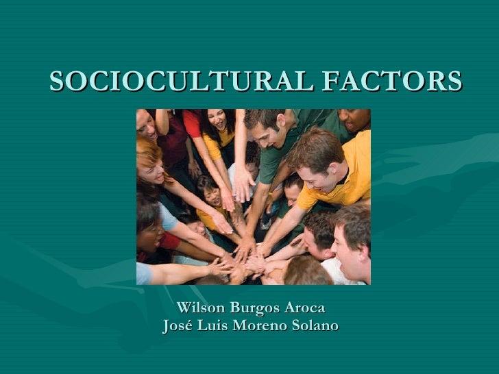 SOCIOCULTURAL FACTORS Wilson Burgos Aroca José Luis Moreno Solano