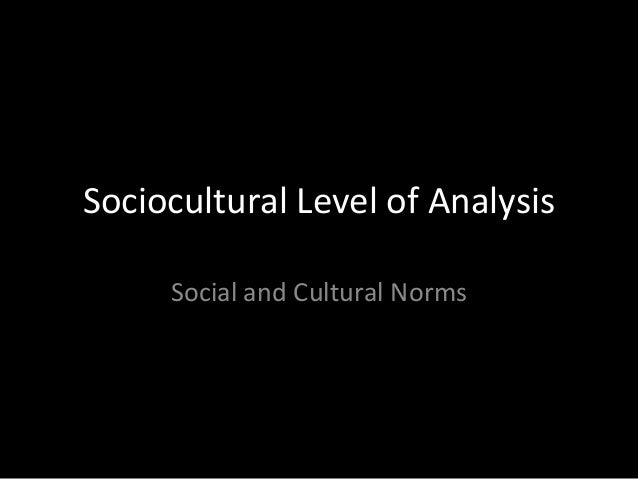 Sociocultural Level of Analysis Social and Cultural Norms