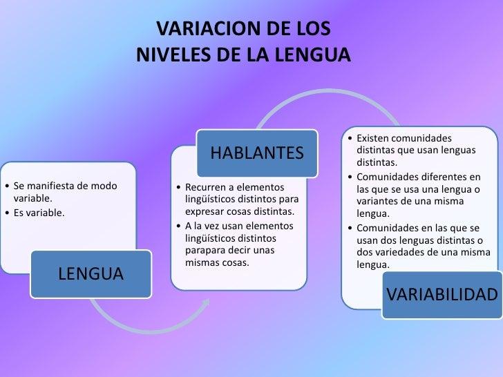 VARIACION DE LOS                          NIVELES DE LA LENGUA                                                            ...