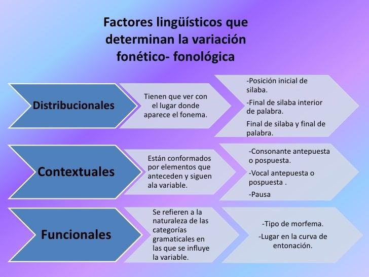 Factores lingüísticos que             determinan la variación               fonético- fonológica                          ...