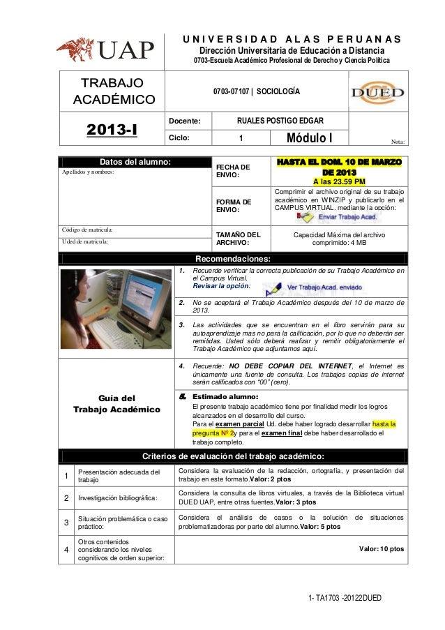 UNIVERSIDAD ALAS PERUANAS                                            Dirección Universitaria de Educación a Distancia     ...