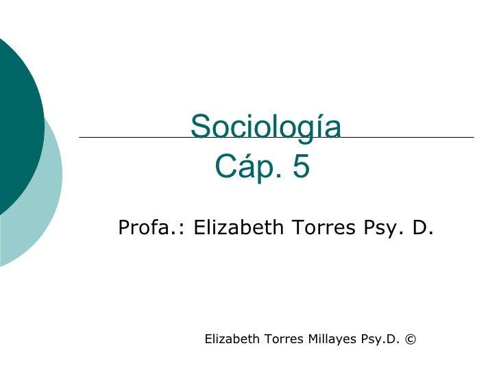Sociología Cáp. 5   Profa.: Elizabeth Torres Psy. D. Elizabeth Torres Millayes Psy.D.  ©