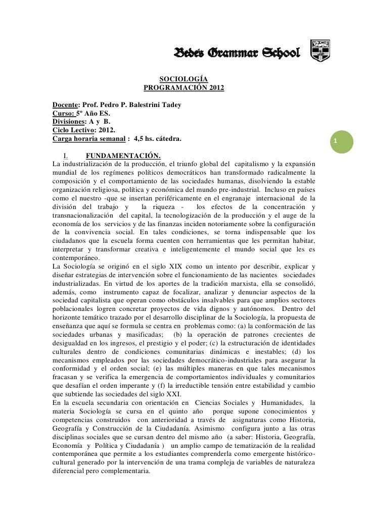 SOCIOLOGÍA                               PROGRAMACIÓN 2012Docente: Prof. Pedro P. Balestrini TadeyCurso: 5º Año ES.Divisio...