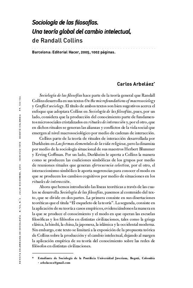 Sociología de las filosofías. Una teoría global del cambio intelectual, de Randall Collins .  .  .  .  .  .  .  .  .  .  ....