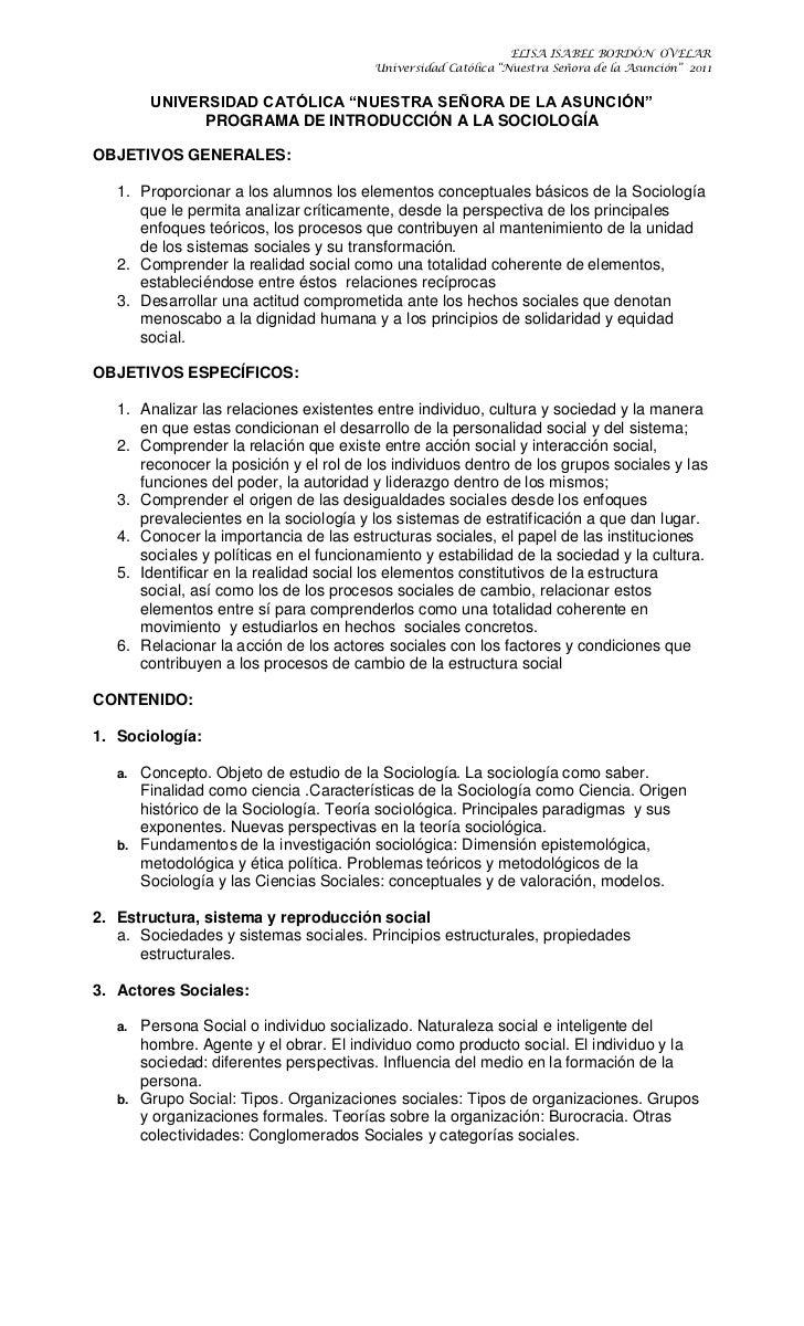 """UNIVERSIDAD CATÓLICA """"NUESTRA SEÑORA DE LA ASUNCIÓN""""<br />PROGRAMA DE INTRODUCCIÓN A LA SOCIOLOGÍA<br />OBJETIVOS GENERALE..."""