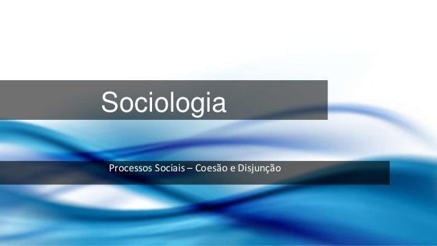 Sociologia Processos Sociais – Coesão e Disjunção