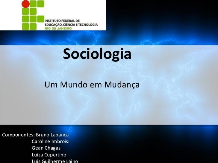 Sociologia Um Mundo em Mudança Componentes: Bruno Labanca Caroline Imbroisi Gean Chagas Luiza Cupertino Luis Guilherme Lai...